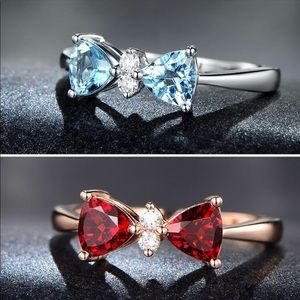 Jewelry - Blue and Red Bow Knot Women's Ring